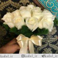 دسته گل عروس رز سفید هلندی