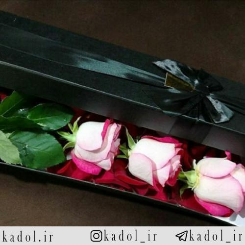 باکس گل رز لب صورتی 3 شاخه