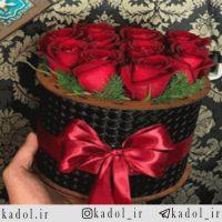 باکس استوانه ای گل رز قرمز هلندی