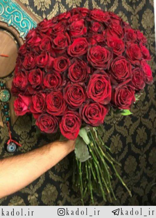 دسته گل رز قرمز هلندی شاخه کوتاه