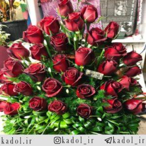 سبد گل رز قرمز هلندی