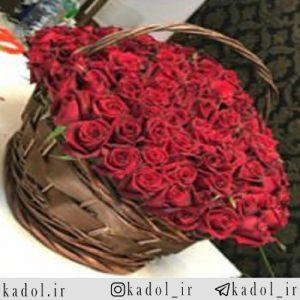 سبد گل رز قرمز هلندی 300 شاخه