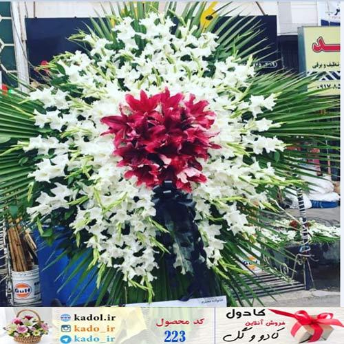تاج گل یک طبقه بزرگ گلایل و لیلیوم