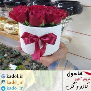باکس گل رُز قرمز 10 شاخه ایی