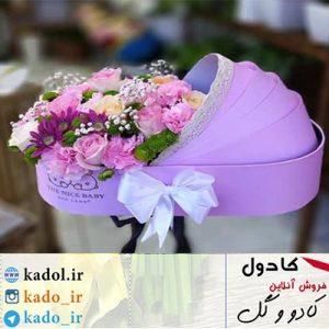 باکس گل نوزاد یاسی