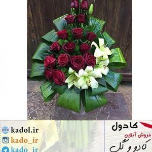 دسته گل رز قرمز و لیلیوم خواستگاری